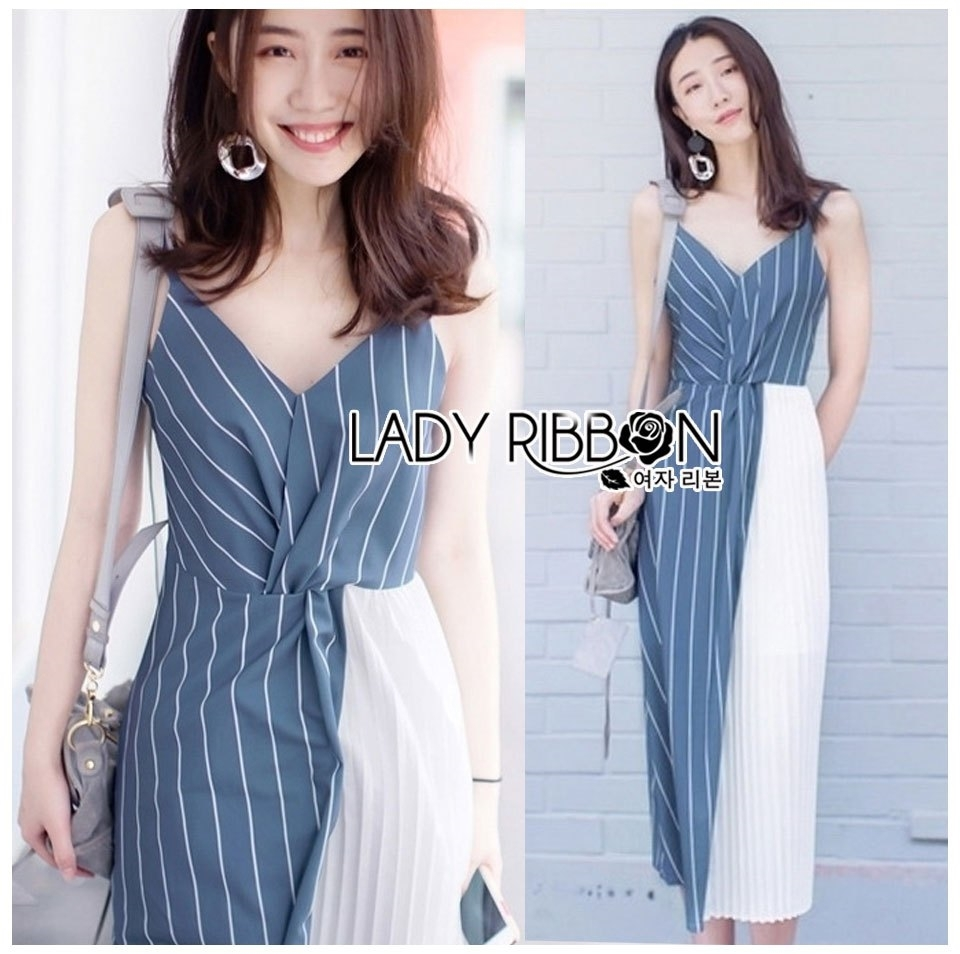 🎀 Lady Ribbon's Made 🎀 Lady Betty Two-Tone Striped Twisted Dress
