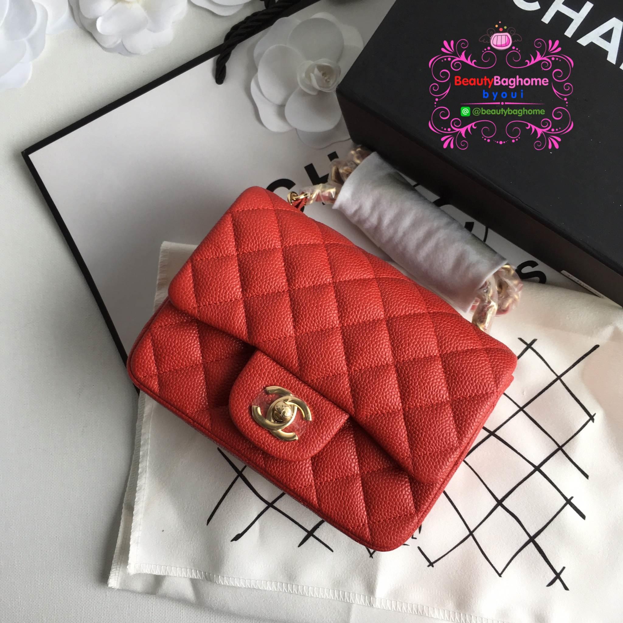 Chanel Classic Flap mini(Square) สีแดง งานHiend 1:1