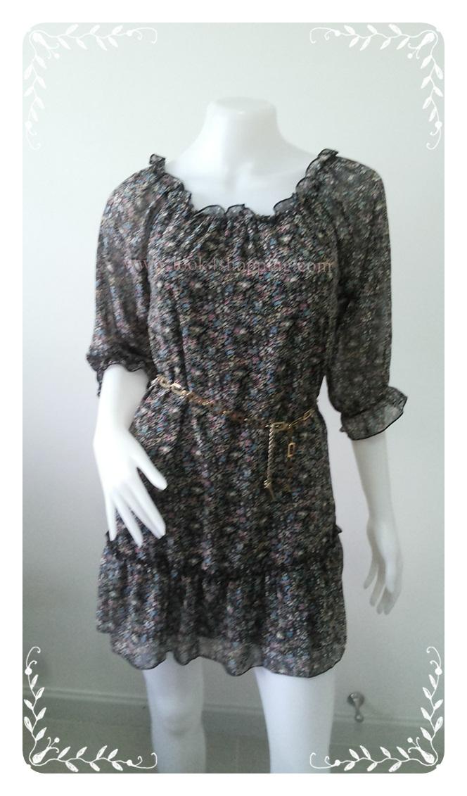 """Dress0641--เดรสแฟชั่น ชีฟอง สวยๆ """"อก 33-35 นิ้ว"""""""