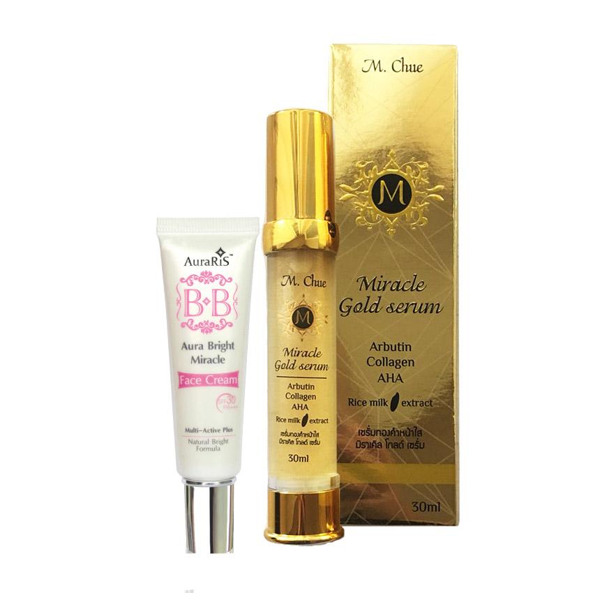 AuraRIS BB Cream บีบีครีม ครีมกันแดด ป้องกันแดด 30 เท่า 10 ml.+M.Chue Miracle gold serum เอ็ม.จู มิราเคิล โกลด์ เซรั่ม ผสมคลอลาเจนและอัลฟ่าอัลบูติน ช่วยให้ผิวเรียบเนียน สีผิวสม่ำเสมอ ลดจุดด่างดำ ลดรอยแดง