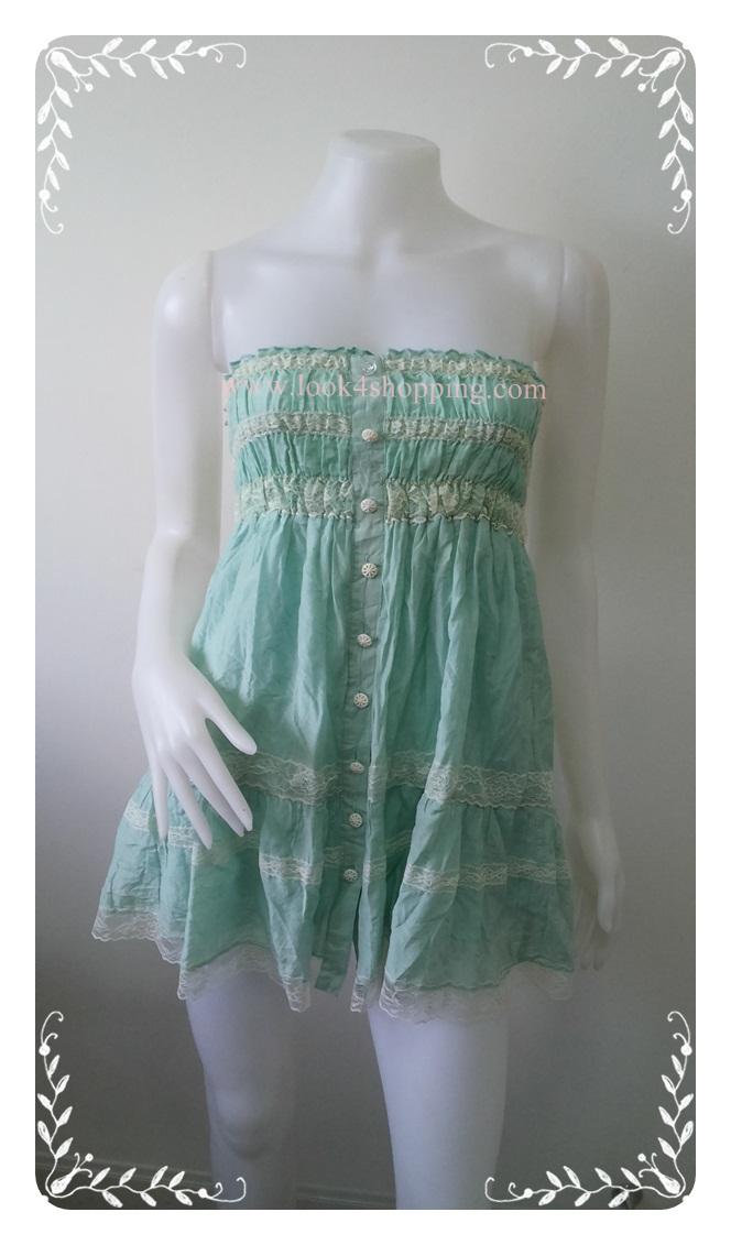 """Dress0739--เดรสแฟชั่น ชีฟอง สีเขียวอ่อน """"อก 24-36 นิ้ว"""""""