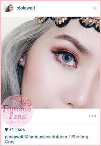 คุณพลอย Ploiwait Beauty Blogger ใส่คอนแทคเลนส์ตาฝรั่ง สีเทาอ่อนสวย รุ่น She-Fong Gray / Little Pony Famouslens.com