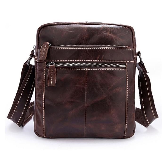 OP-2861 กระเป๋าหนังแท้ สะพายข้าง สีน้ำตาล