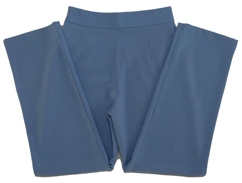 กางเกงขากระบอกเอวสูง ผ้าฮานาโกะ สีฟ้าคราม Size S M L XL