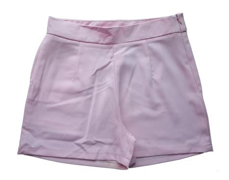 กางเกงขาสั้นเอวสูงผ้าฮานาโกะ สีชมพู กระเป๋าขวา ซิปซ้าย Size 2XL 3XL
