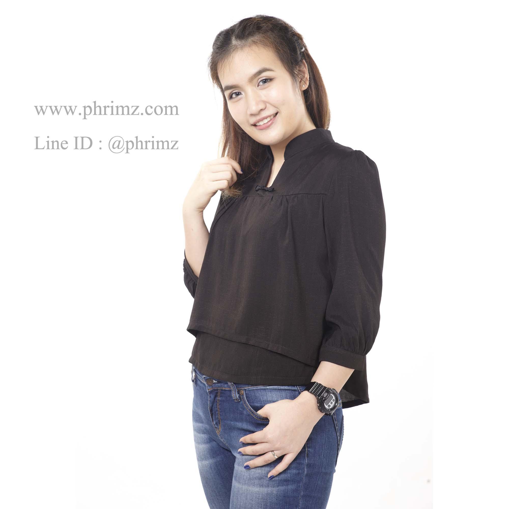 เสื้อให้นม Phrimz : Nara Breastfeeding Top - Black