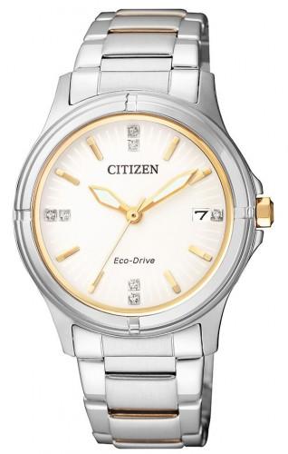 นาฬิกาผู้หญิง Citizen รุ่น FE6054-54A, Eco-Drive Swarovski 50m White Dial