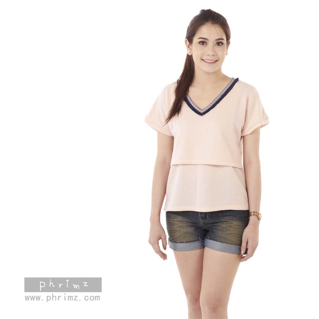 เสื้อให้นม Phrimz : Jasmine Breastfeeding Top - Pink