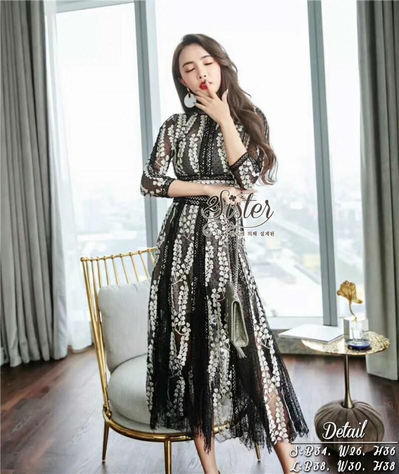 เสื้อผ้าแฟชั่นเกาหลี 2Sister Made, Korea Vintage Eastern Lady Dress