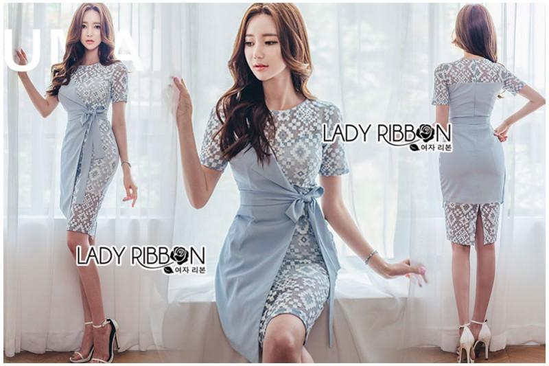 เสื้อผ้าแฟชั่นเกาหลี Lady Ribbon's Made Lady Sofia Graphic Two-Tone Baby Blue Dress