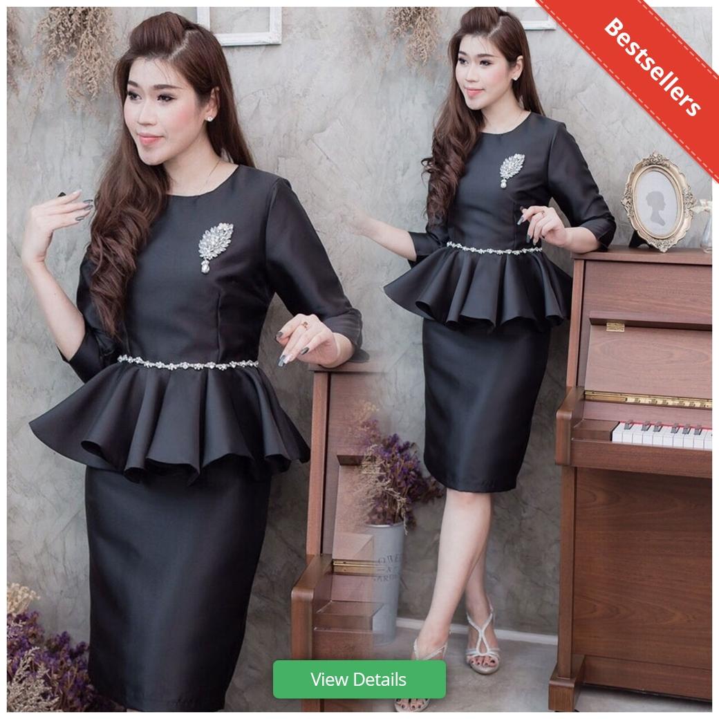 ชุดเดรสทำงานสีดำแนวเรียบหรู สวยหวาน ดูดี เป็นทางการ เป็นเซ็ทเสื้อกระโปรง ผ้าไหมอิตาลี