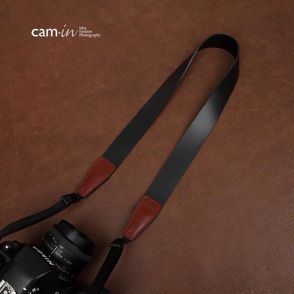 สายคล้องกล้องหนังแท้คล้องคอ cam-in รุ่น Modern Leather หนังเรียบ สีดำ