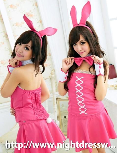 ชุดคอสเพลย์กระต่ายเกาะอกสีชมพู