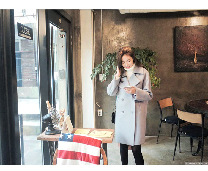 เสื้อโค้ทกันหนาวผู้หญิง สีเทาอ่อน ยาวคลุมสะโพก มีซับใน รับลมหนาว เที่ยวต่างประเทศ