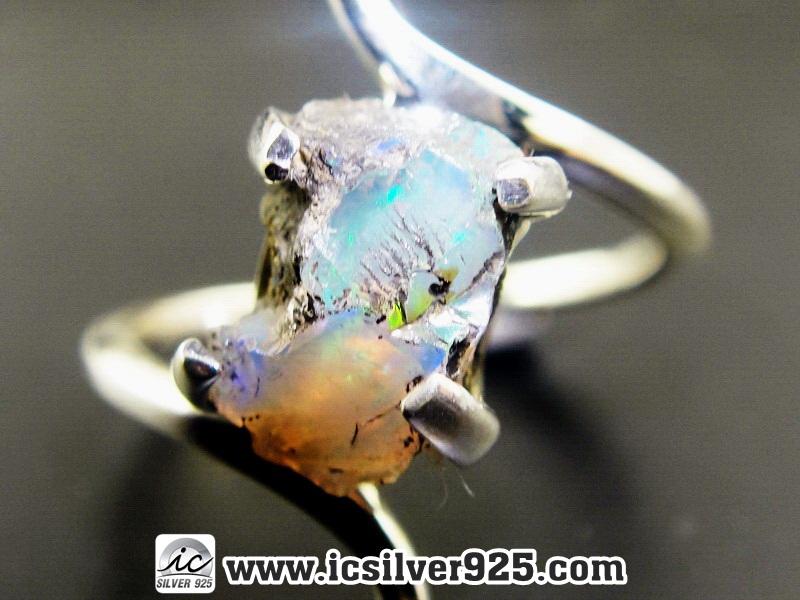 ▽โอปอล (Opal)เอธิโอเปีย แหวนเงินแท้ 925 (แหวนเบอร์ : 55 , 2.9g)