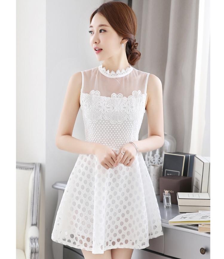 ชุดเดรสสั้นสีขาว ผ้าลูกไม้ แขนกุด แนวสวยหวาน น่ารัก สไตล์เกาหลี