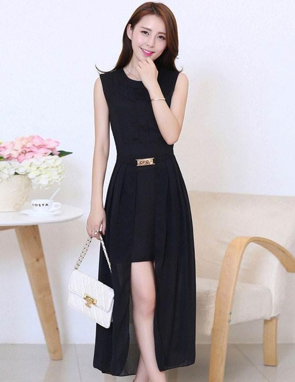 ชุดแซกยาวเกาหลี สีดำอ่อน ผ้ายืด