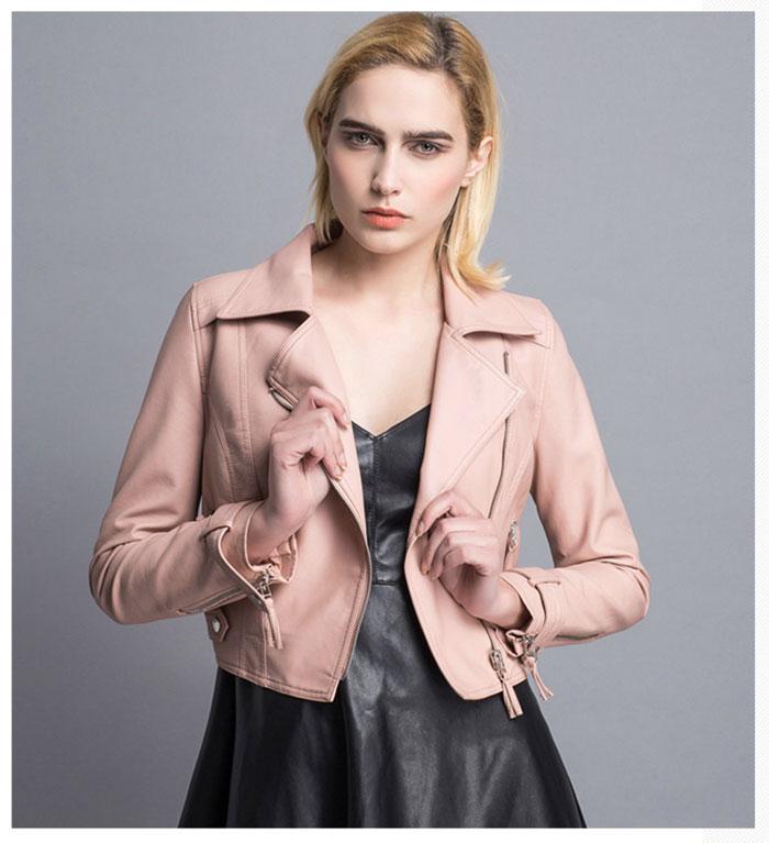 เสื้อแจ็คเก็ตหนังผู้หญิง แฟชั่นเกาหลี สีครีม แจ็คเก็ตหนัง PU ตัวสั้น คอปก ชิคๆ คูลๆ