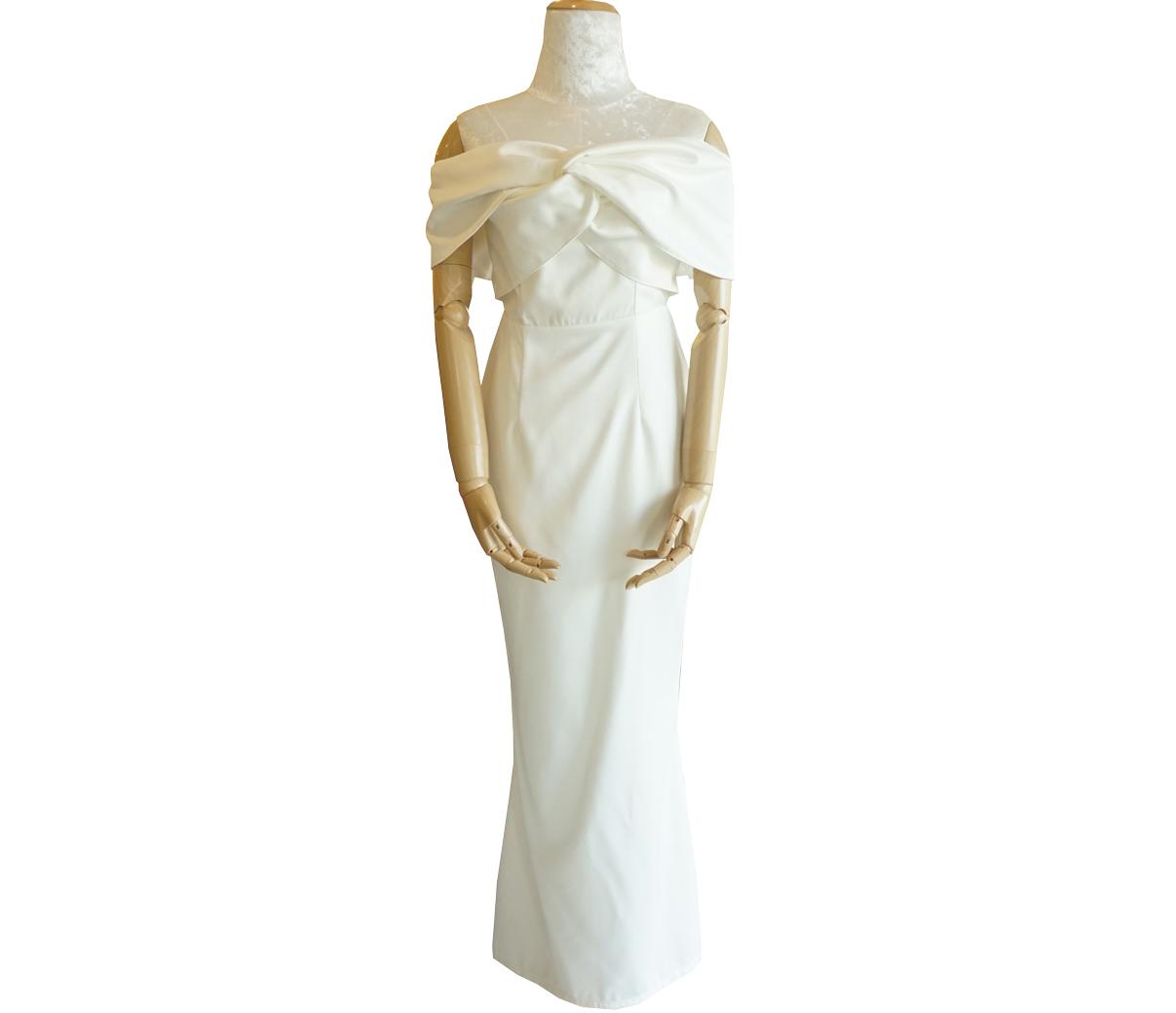 ชุดออกงานยาวสีขาว เปิดไหล่ แต่งโบว์หน้า แนวเรียบๆ สวยหรู ดูดี : พร้อมส่ง S M