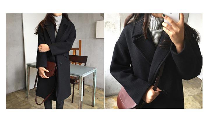 เสื้อโค้ทกันหนาวผู้หญิง สีดำ โค้ทยาว ซับในบุนุ่ม ใส่เที่ยวต่างประเทศ สวยๆ
