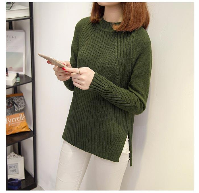 เสื้อไหมพรมแฟชั่นกันหนาว เสื้อสเวตเตอร์คอกลม สีเขียว แขนยาว ยาวคลุมสะโพก น่ารัก
