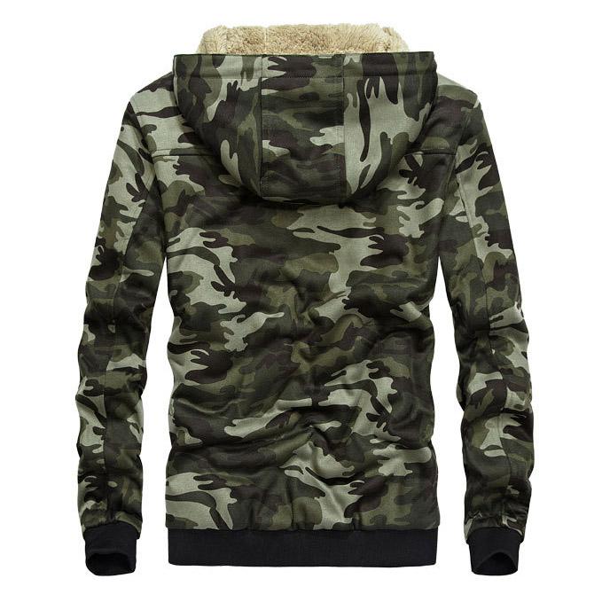 เสื้อกันหนาวผู้ชาย เสื้อแจ็คเก็ตผู้ชายมีฮู้ดบุขน ลายพรางทหารสีกรมท่า