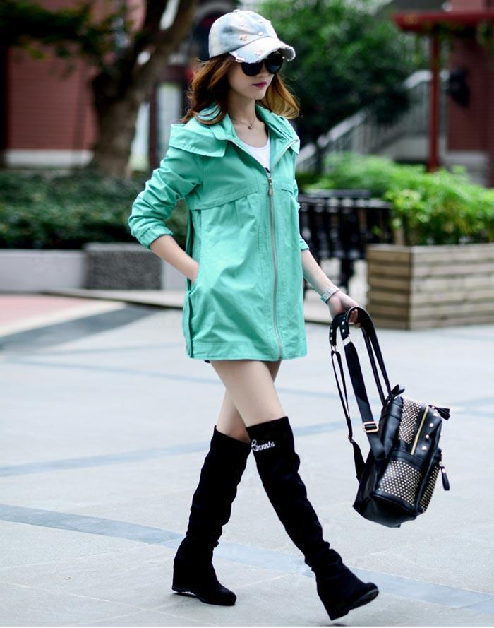 เสื้อกันหนาวผู้หญิงแฟชั่นเกาหลี สีฟ้า แจ็คเก็ต มีฮู้ด ตัวยาวคลุมสะโพก เท่ๆ
