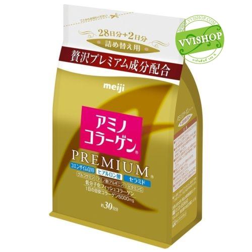 Meiji Amino Collagen Premium 5000 mg + Hyaluronic Acid + CoQ10 แบบ Refill 30 วัน เมจิ อะมิโน คอลลาเจน รุ่นพรีเมียม *พร้อมส่ง*