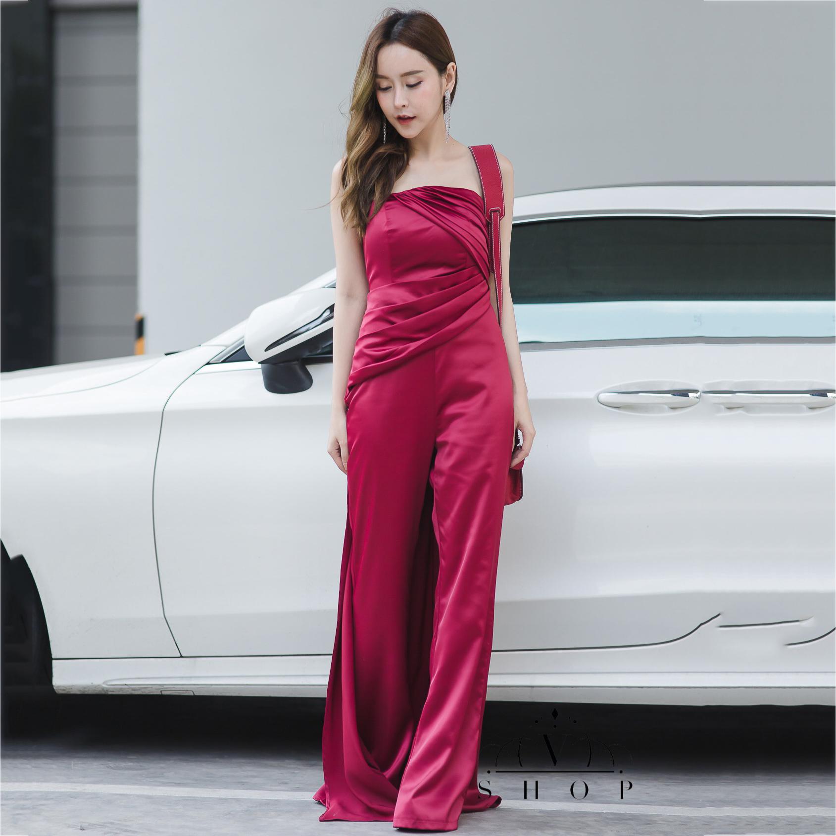 ชุดออกงานยาวสีแดง แบบกางเกง เกาะอก กางเกงทรงบาบาน ลุคเรียบหรู สวยดูดีมากๆๆๆ
