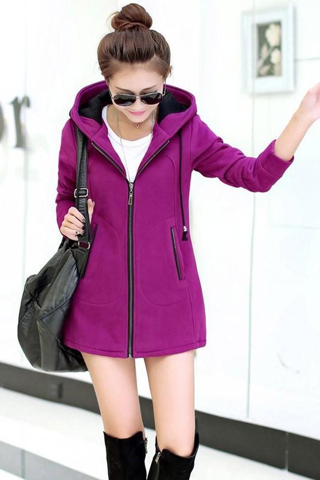 เสื้อกันหนาวผู้หญิงแฟชั่นเกาหลี สีม่วง ซิปหน้า มีฮูท ด้านในฮูทสีดำตัดม่วง ด้านหลังแต่งซิปหลอก
