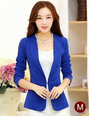 เสื้อสูททำงานสีน้ำเงิน ทรงเข้ารูป คอปก แขนยาว ผ้าโพลีเอสเตอร์ มีซับใน ไซส์ M