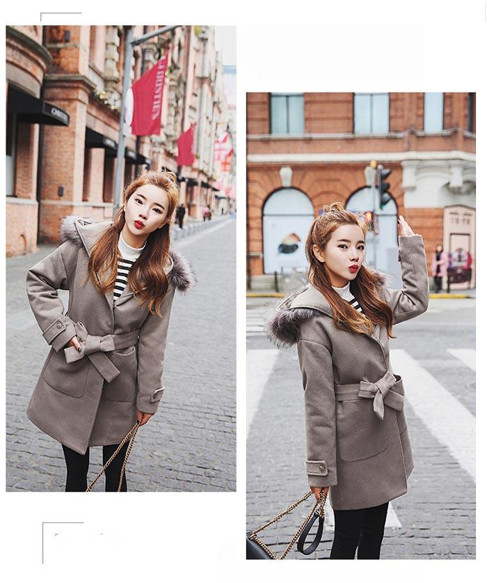 เสื้อโค้ทกันหนาวผู้หญิง สีเทา มีฮู้ด ตกแต่งเฟอร์ขนสัตว์ รับลมหนาว เที่ยวต่างประเทศ สวยๆ