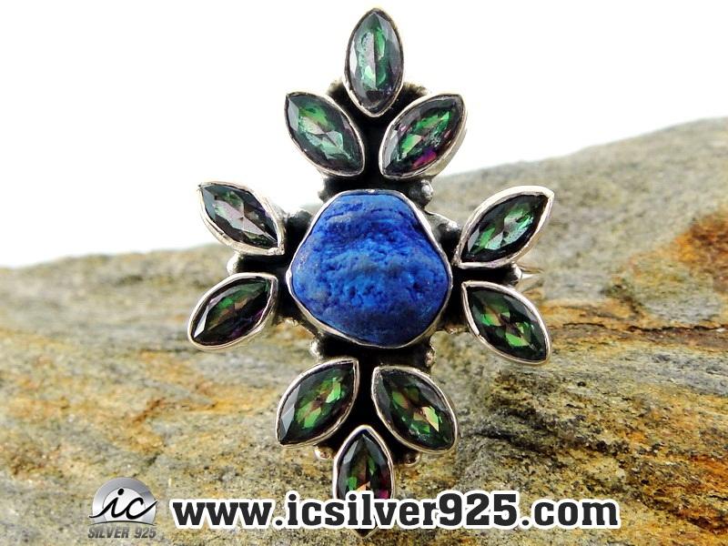 ▽อะซูไรท์ (Azurite) โทพาซสีรุ้ง (Rainbow Topaz) แหวนเงินแท้ 925 (แหวนเบอร์ : 56)
