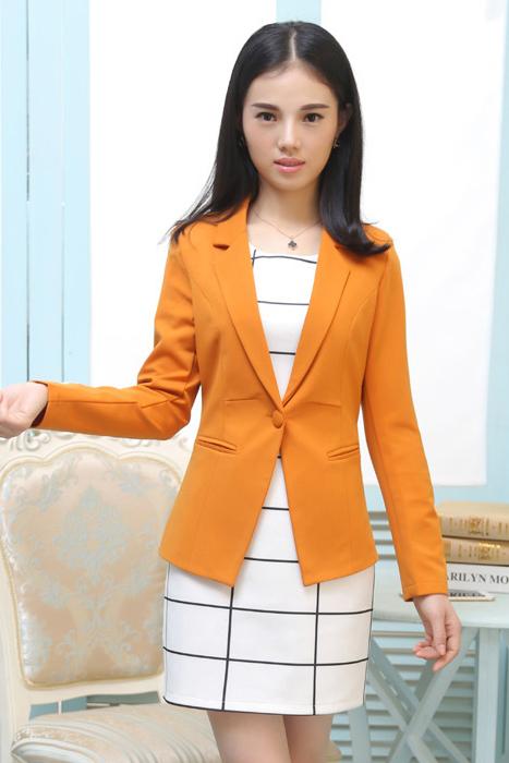 เสื้อสูทแฟชั่น เสื้อสูทผู้หญิง สีส้มอิฐ แขนยาว