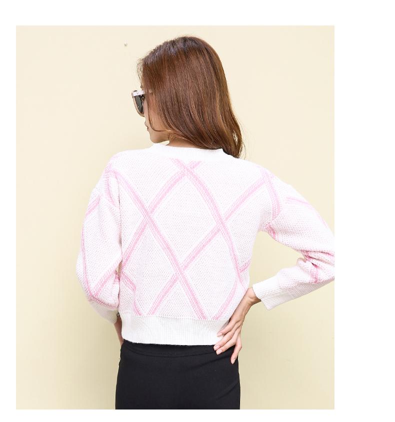เสื้อไหมพรมแฟชั่นกันหนาว เสื้อสเวตเตอร์คอกลม สีชมพู แขนยาว ลายสวยดีไซน์เก๋