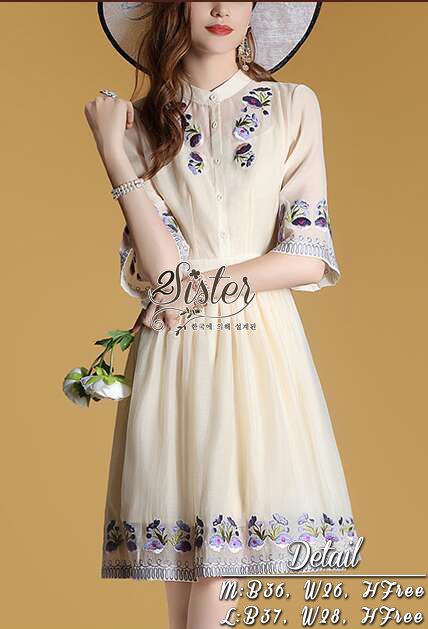 Cream Color Sweet Vintage Dress