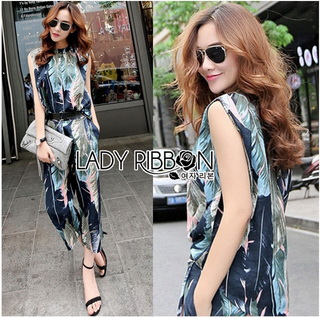 LR18220816 &#x1F380 Lady Ribbon's Made &#x1F380 Lady Edith Tropical Printed Sleeveless Top and Pants Set