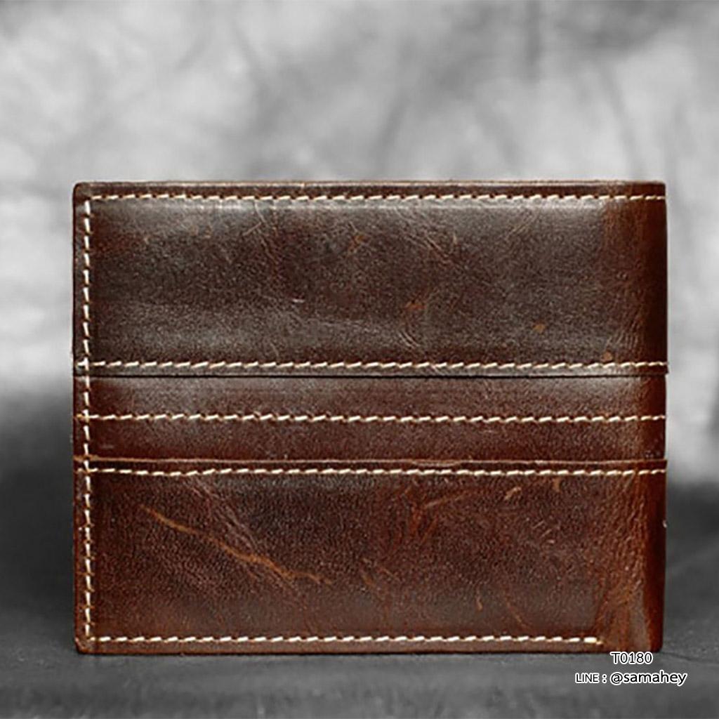 กระเป๋าสตางค์ผู้ชาย หนังแท้ ทรงสั้น T0180 - สีน้ำตาลเข้ม