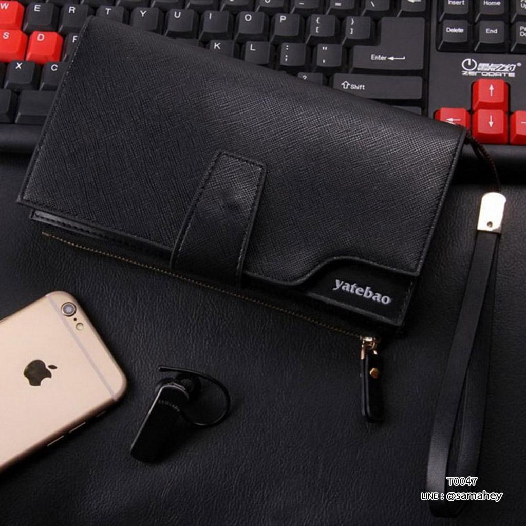 กระเป๋าสตางค์ผู้ชาย ทรงยาว YATEBAO - สีดำ