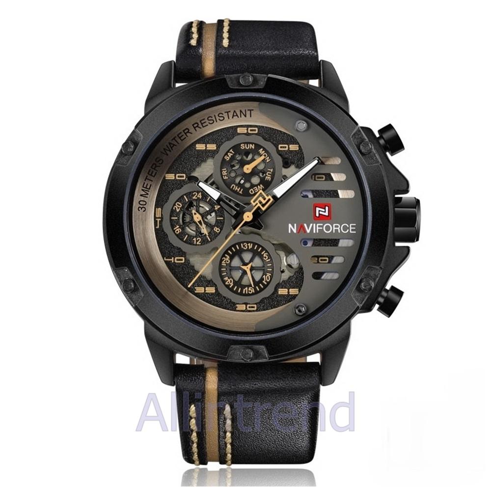 นาฬิกา Naviforce รุ่น NF9110M สีส้มดำ สายสีดำขีดสีแทน ของแท้ รับประกันศูนย์ 1 ปี ส่งพร้อมกล่อง และใบรับประกันศูนย์ ราคาถูกที่สุด