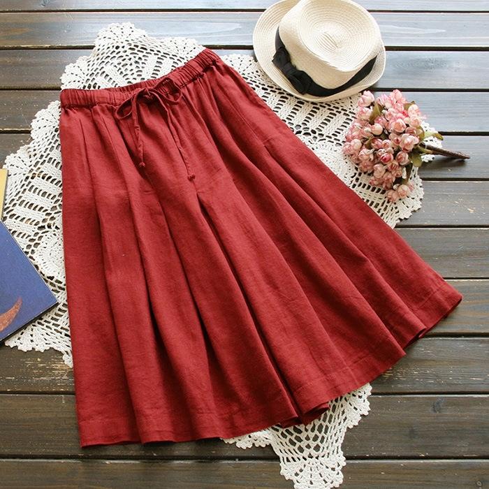 กางเกงขาสามส่วนผ้าฝ้ายผสมลินิน ขาบานเอวยืด (มีให้เลือก 4 สี)
