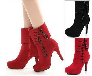(Pre Order) บูท ฤดูใบไม้ร่วงฤดูหนาว Botas ส้นสูงแพลตฟอร์มหนัง รองเท้าหญิง มี2 สี ดำ,แดง ไซส์ 35,36,37,38,39,40,41,42