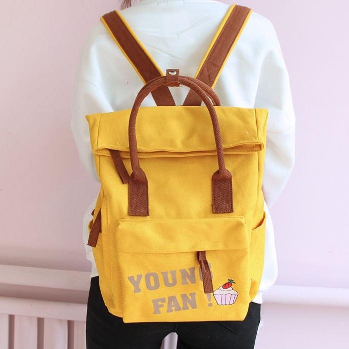 กระเป๋าเป้ผ้า Canvas พิมพ์ลาย (มีให้เลือก 4 สี)