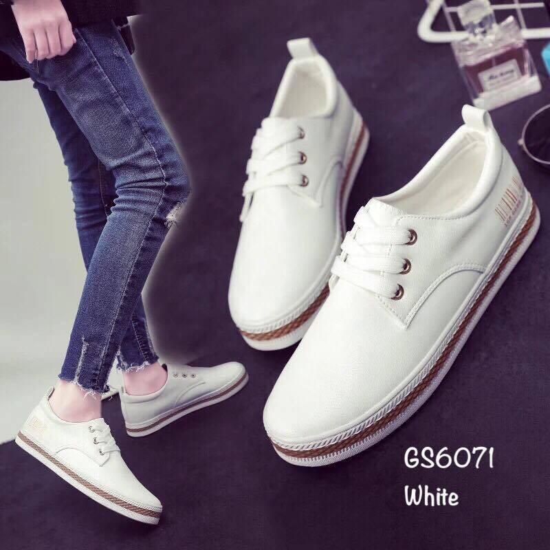 พร้อมส่ง รองเท้าผ้าใบแฟชั่นงานหนังอย่างดี GS6071C3-WHI [สีขาว]