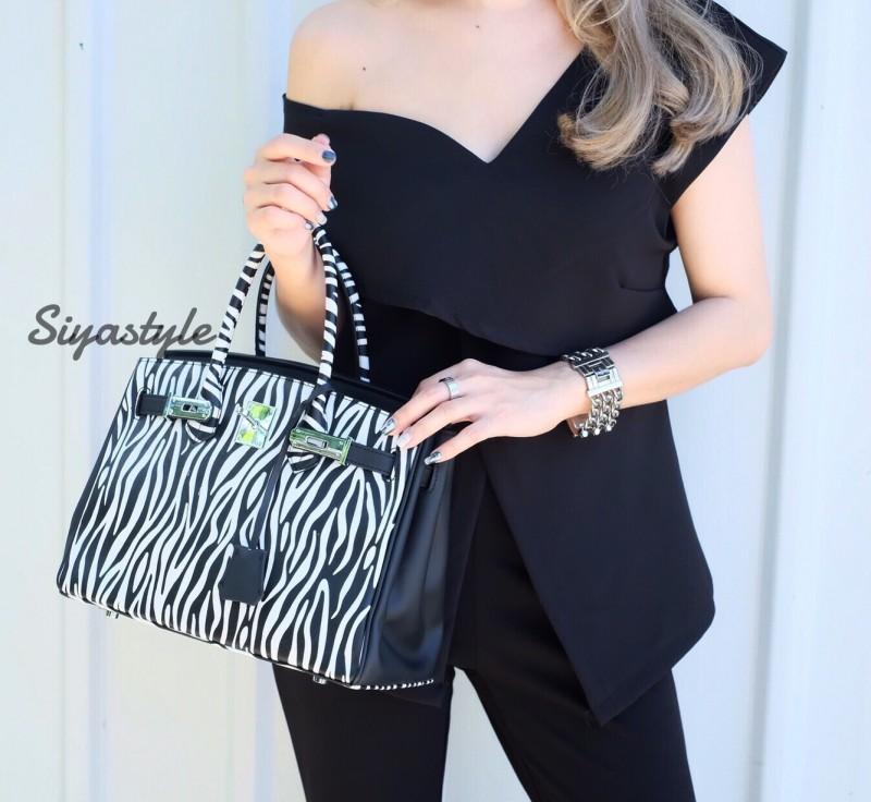 กระเป๋าสะพายแฟชั่น กระเป๋าสะพายข้างผู้หญิง Birkin ม้าลาย 30 CM [สีดำ]