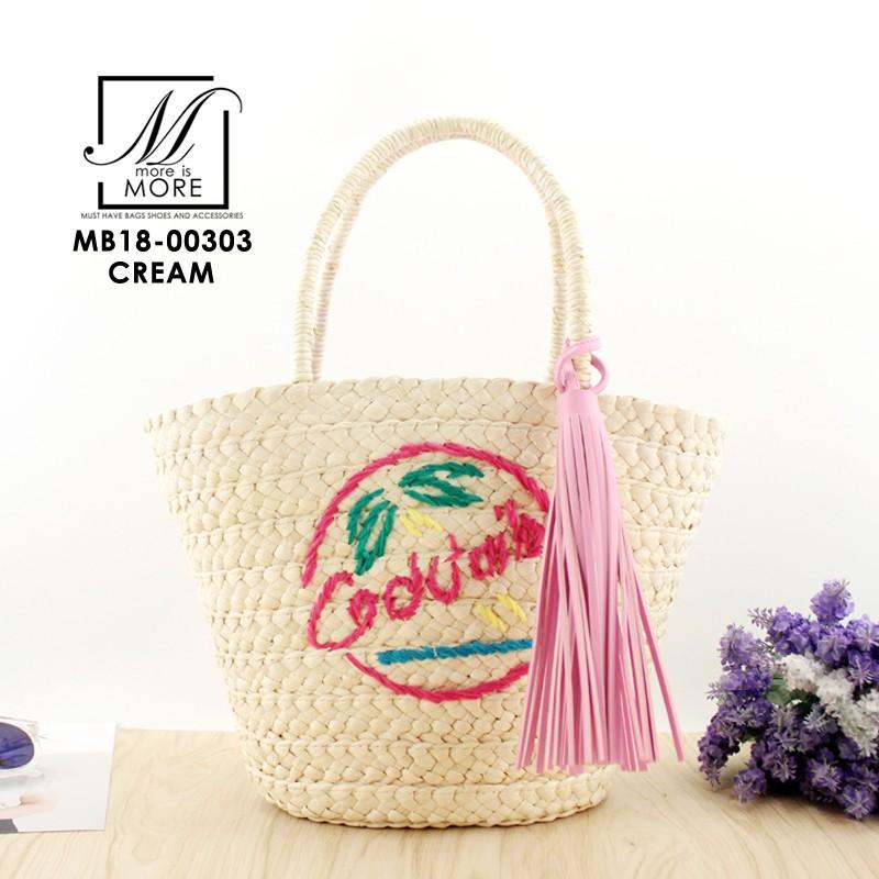 กระเป๋าถือกระเป๋าสาน สาน handmade งานนำเข้าสไตล์เกาหลี MB18-00303-CRM (สีครีม)