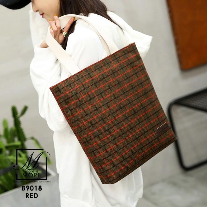 กระเป๋าแฟชั่นนำเข้าวัสดุผ้าทอลาย B9018-RED (สีแดง)