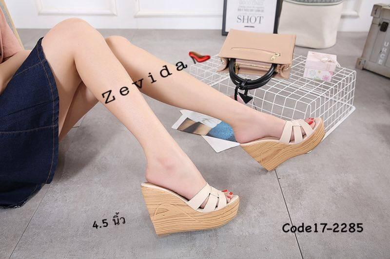 พร้อมส่ง รองเท้าส้นเตารีด สไตล์เกาหลี zevida 17-2285-CRM [สีครีม]