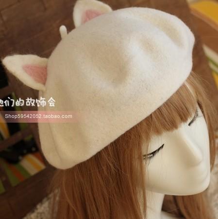 Pre-Order หมวกเบเรต์หูแมว ผ้าWool