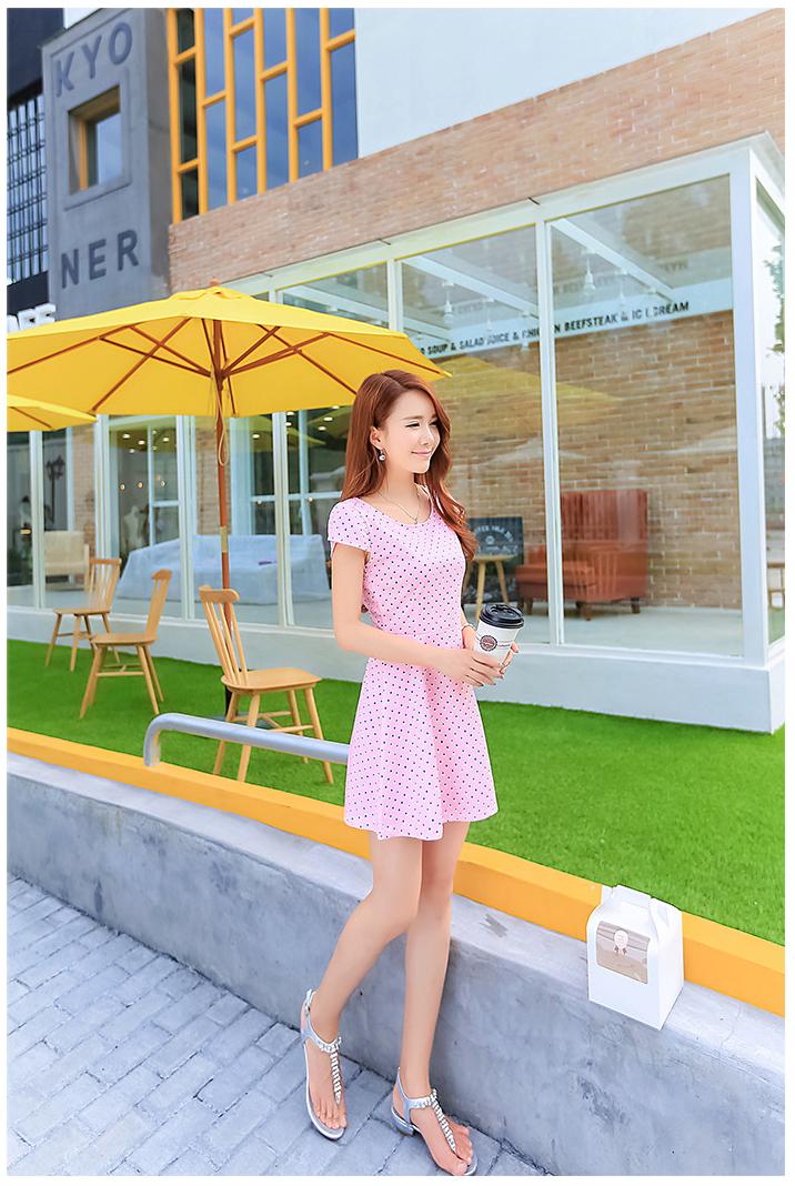 รับตัวแทนจำหน่ายชุดเดรสทำงานแฟชั่นเกาหลีสีชมพูลายจุด
